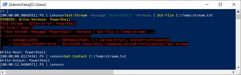PowerShell, stream, strumienie, przykład