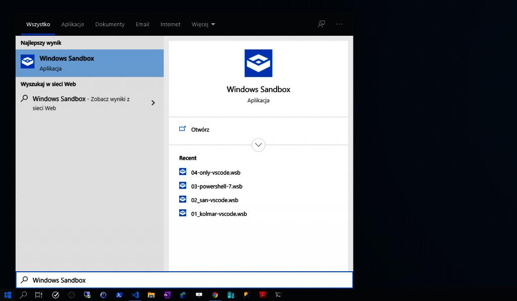 menu windows sandbox