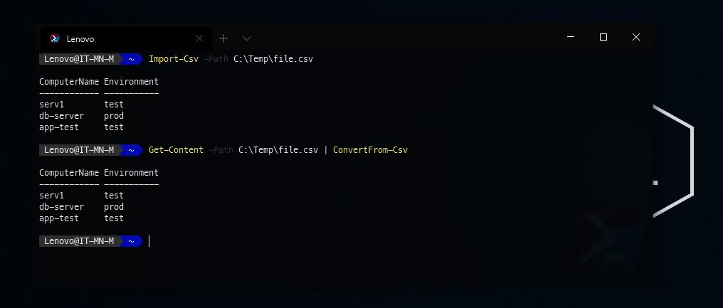PowerShell - pobieranie z pliku csv