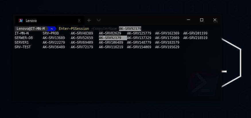 uzupełnianie tabulatore - PowerShell