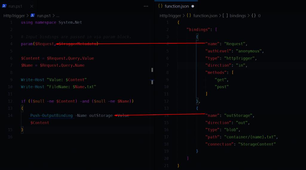 Powiązanie pomiędyz run.ps1 i function.json