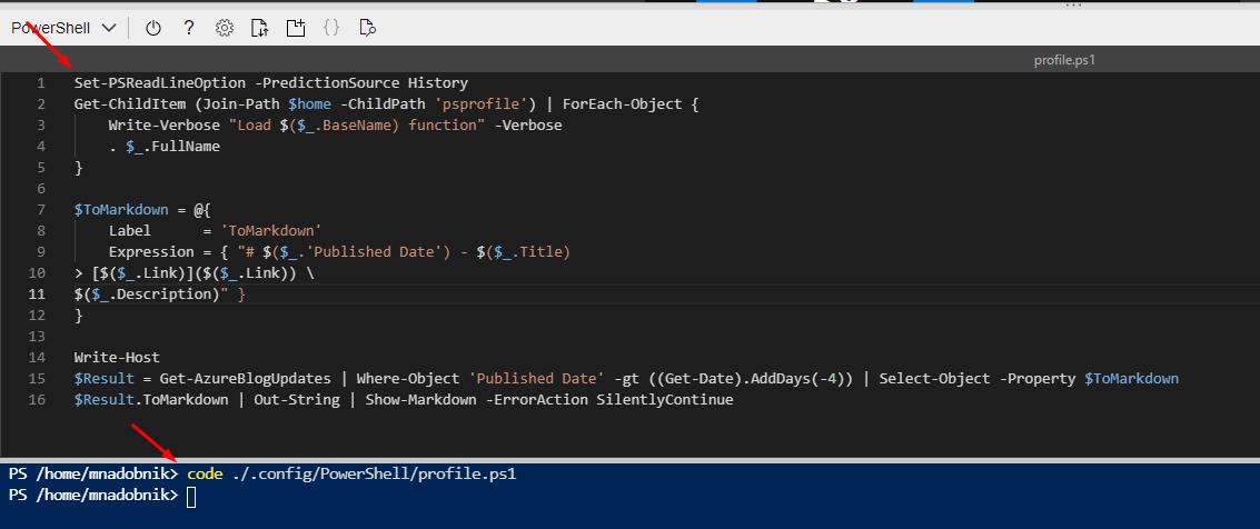 Azure Cloud Shell - profile file